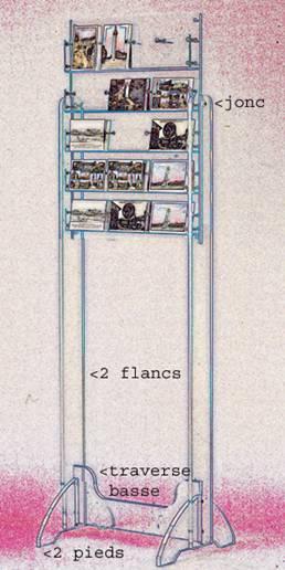 presentoir cartes postales pieds